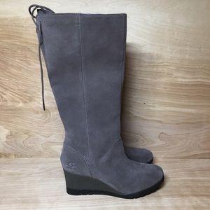 UGG Womens Dawna Wedge Knee High Boots Sz 9.5 Gray